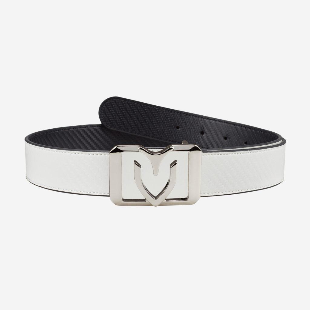 Belts (V square reversible) SLIVER (WHITE/BLACK)
